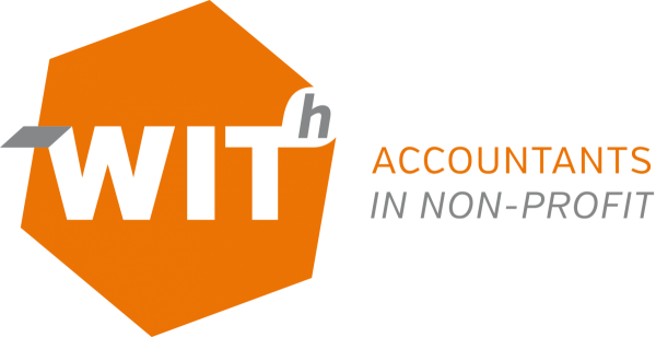 accountants in non profit, with, logo wit oranje met tekst